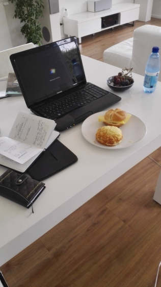 laptop, tablet, journal, food . at work for the blog
