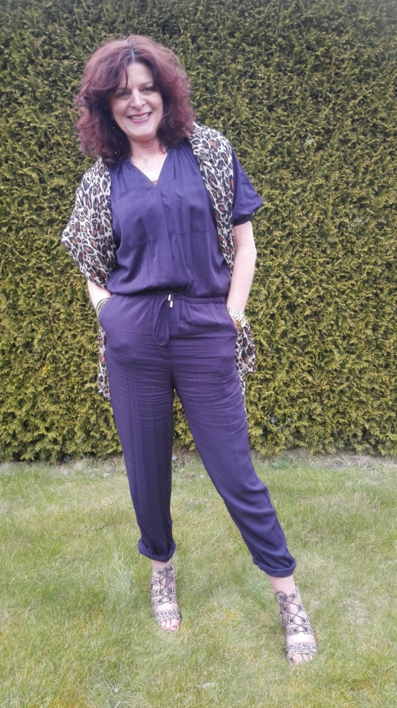 me in navy blue jumpsuit