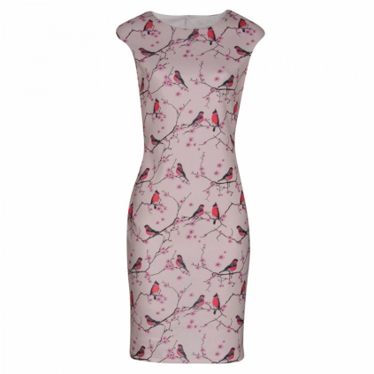 bodycon dress with birdprint